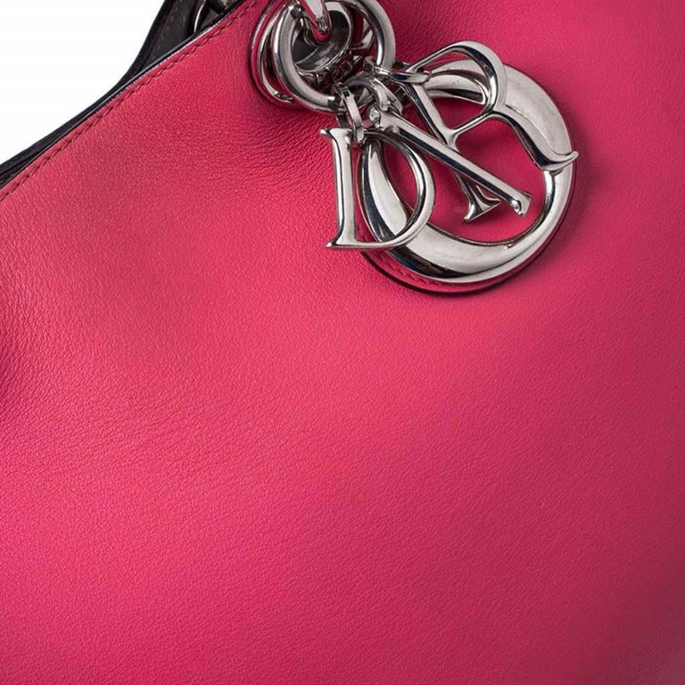 Dior Hot Pink Leather Medium Diorissimo Shopper Tote For Sale 5