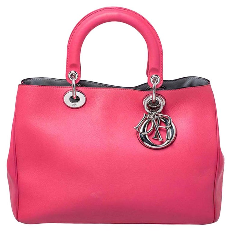 Dior Hot Pink Leather Medium Diorissimo Shopper Tote For Sale