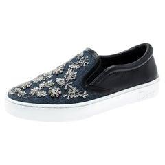 Dior Indigo Embellished Dark Wash Denim Leather Happy Slip On Sneakers Size 37.5