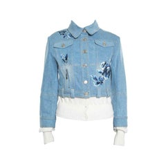 Dior Indigo Faded Effect Floral Embroidered Faux Layered Denim Jacket M