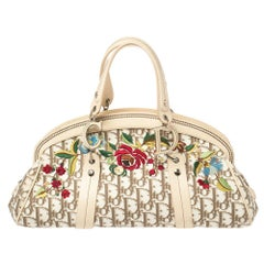 Dior Ivory/Brown Diorissimo Canvas and Leather Floral Trotter Satchel