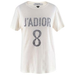 Dior Ivory Cotton J'adior 8 T-Shirt XS
