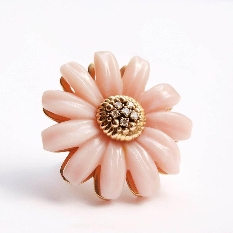 Modern Dior Joaillerie Designed by Victoire de Castellane Pink Opal and Diamond Ring For Sale