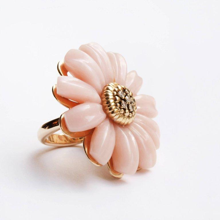 Women's or Men's Dior Joaillerie Designed by Victoire de Castellane Pink Opal and Diamond Ring For Sale