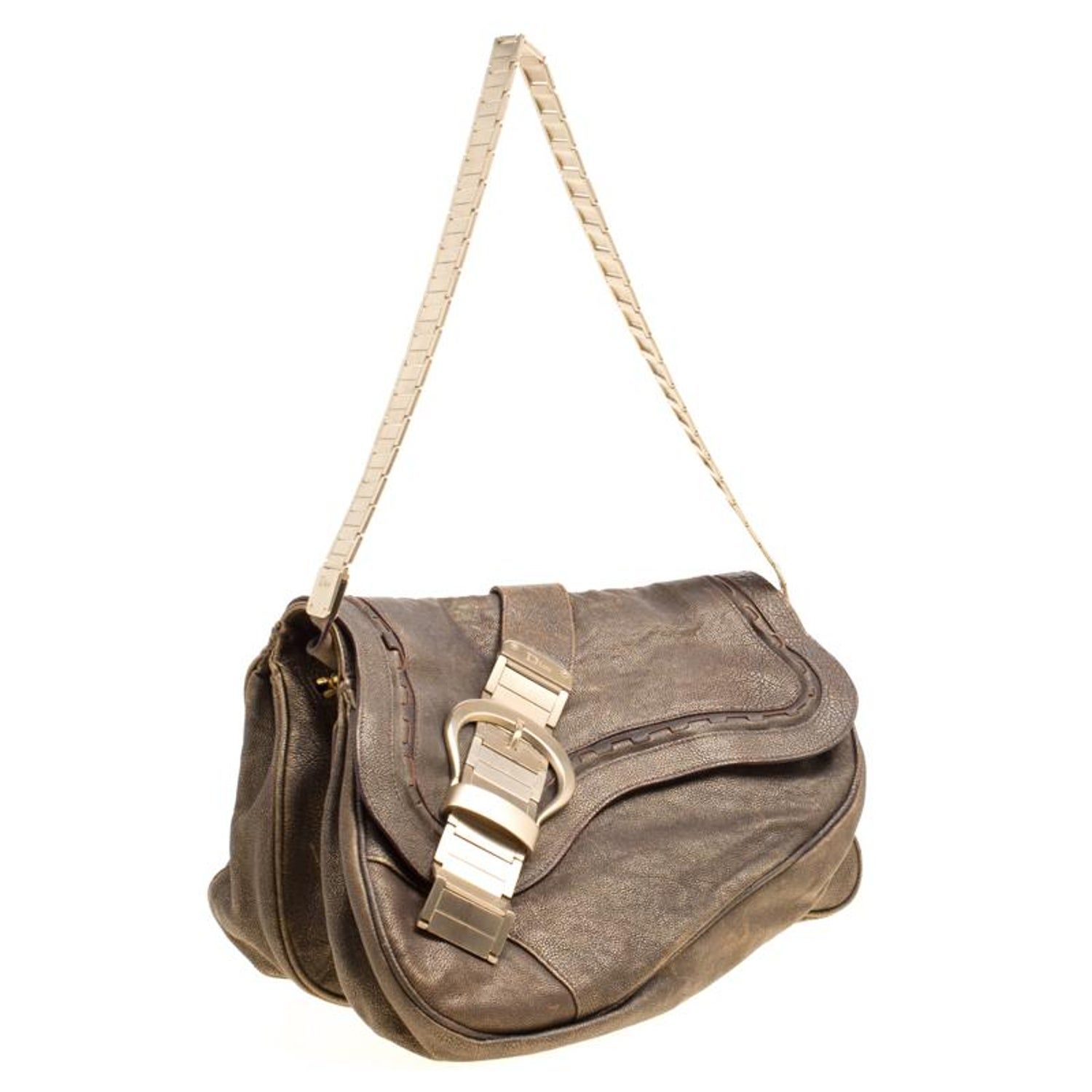 Dior Khaki Leather and Metal Limited Edition 148 Gaucho Double Saddle Bag  For Sale at 1stdibs 73ff2b918c1e1