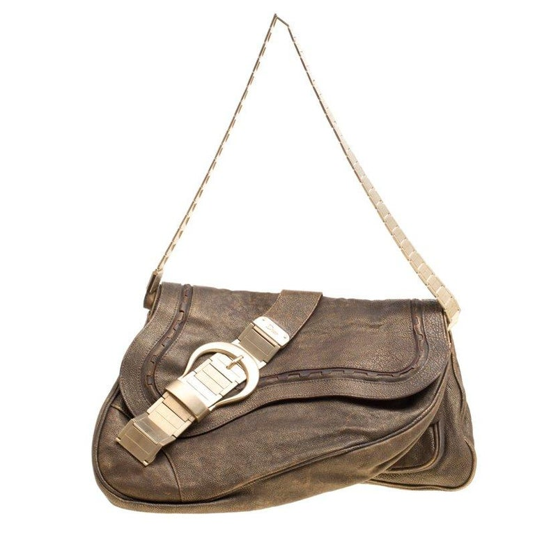 Dior Khaki Leather and Metal Limited Edition 148 Gaucho Double Saddle Bag  For Sale 8b545e664efbc