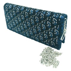 DIOR - Lady Dior Evening Chain Clutch Bag - Navy with Crystals