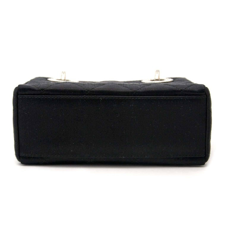 Dior Lady Dior Mini Black Satin bag With Crystals In Good Condition For Sale In Antwerp, BE