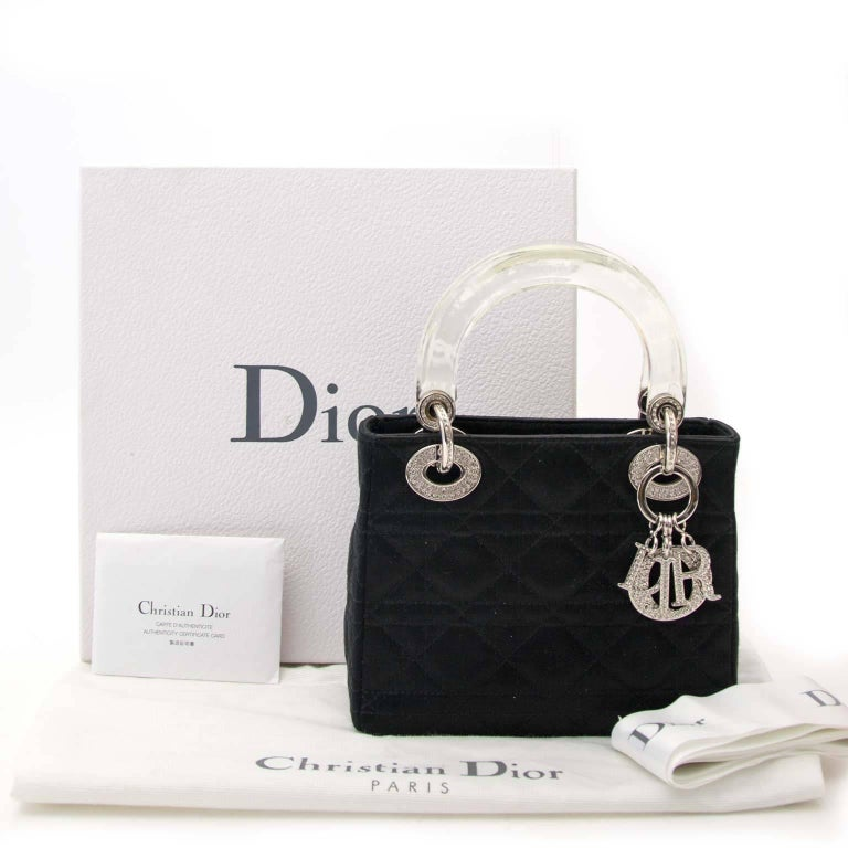 Women's Dior Lady Dior Mini Black Satin bag With Crystals For Sale
