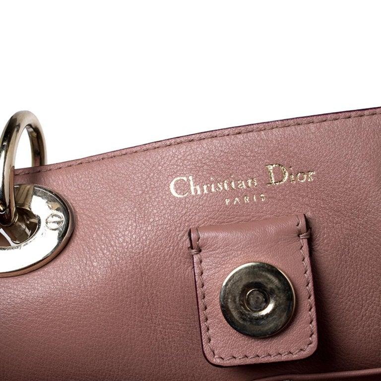 Dior Light Beige Leather Medium Diorissimo Tote For Sale 6