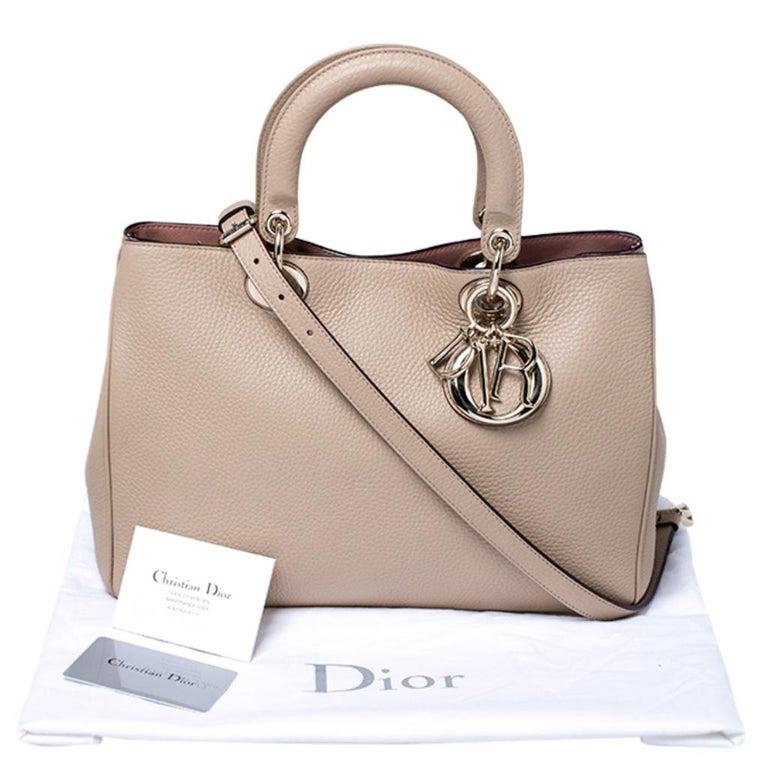 Dior Light Beige Leather Medium Diorissimo Tote For Sale 7