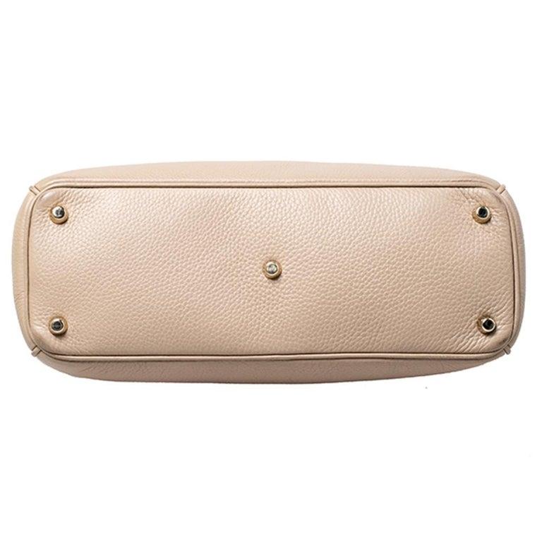 Dior Light Beige Leather Medium Diorissimo Tote For Sale 1
