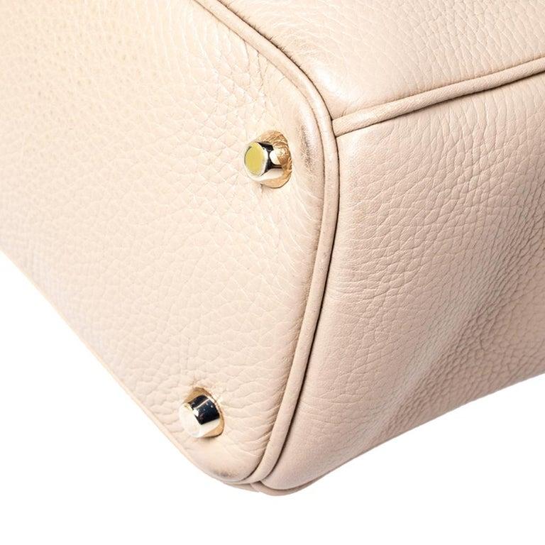 Dior Light Beige Leather Medium Diorissimo Tote For Sale 3