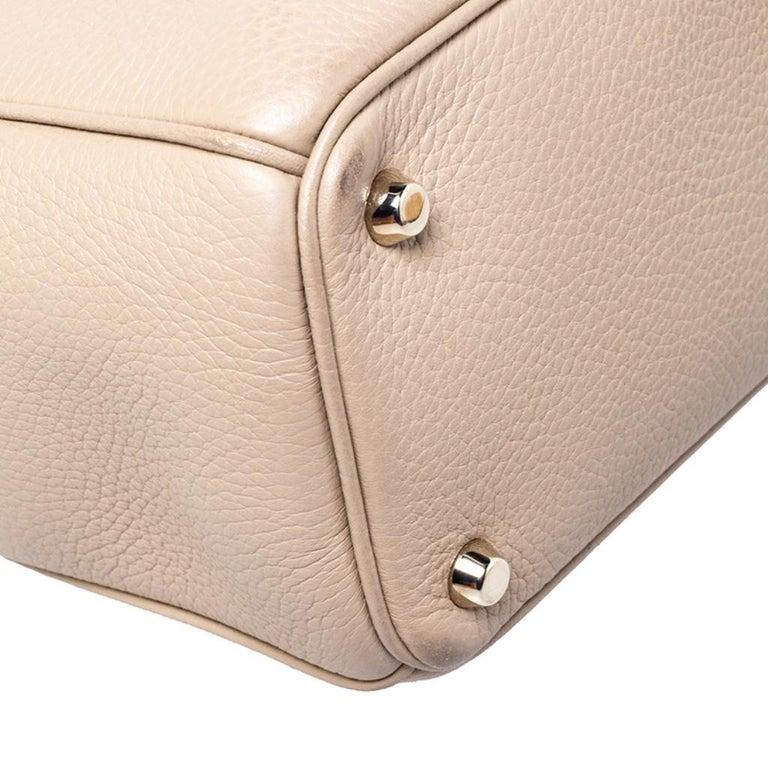 Dior Light Beige Leather Medium Diorissimo Tote For Sale 4