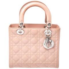 Dior Light Beige Patent Leather Medium Lady Dior Tote