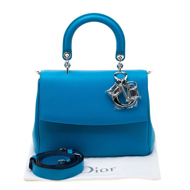 Dior Light Blue Leather Small Be Dior Flap Bag For Sale 8