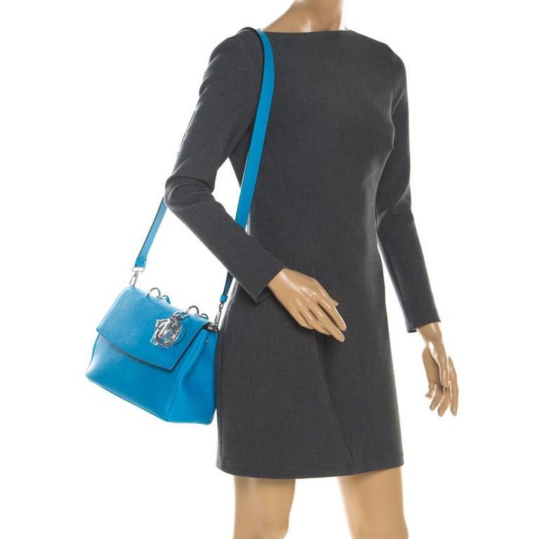 Dior Light Blue Leather Small Be Dior Flap Bag In New Condition For Sale In Dubai, Al Qouz 2