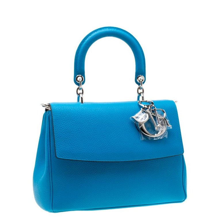Women's Dior Light Blue Leather Small Be Dior Flap Bag For Sale