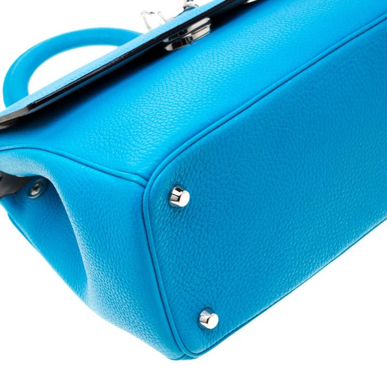 Dior Light Blue Leather Small Be Dior Flap Bag For Sale 5