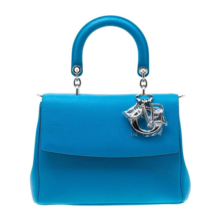 Dior Light Blue Leather Small Be Dior Flap Bag For Sale