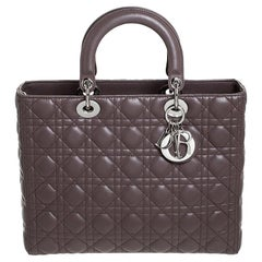 Dior Light Brown Cannage Quilted Leather Large Lady Dior Tote