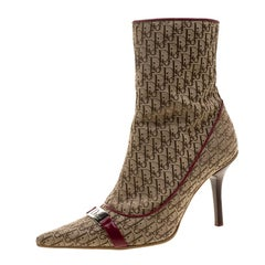 Dior Light Brown Canvas Diorissimo Boots Size 37
