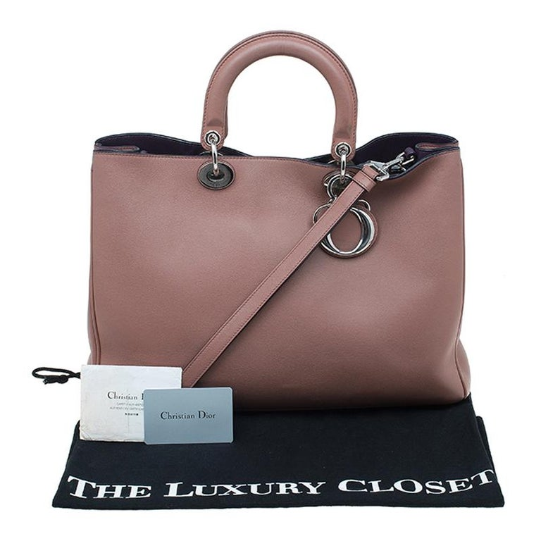 Dior Light Brown Leather Large Diorissimo Shopper Tote For Sale 15