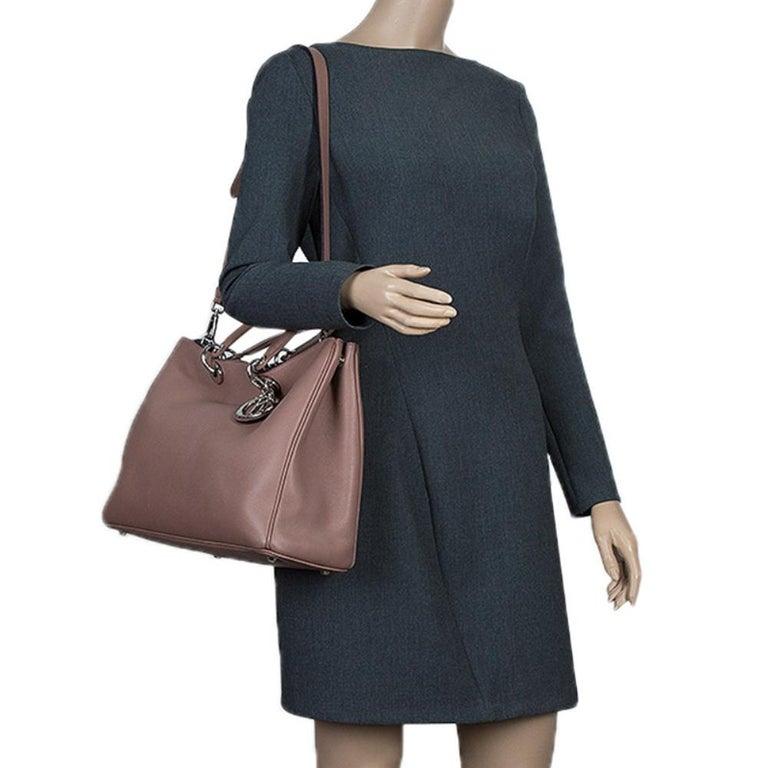 Dior Light Brown Leather Large Diorissimo Shopper Tote In Good Condition For Sale In Dubai, Al Qouz 2