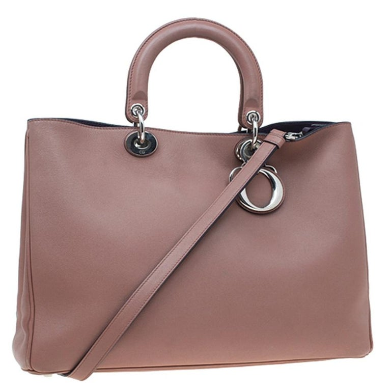 Women's Dior Light Brown Leather Large Diorissimo Shopper Tote For Sale