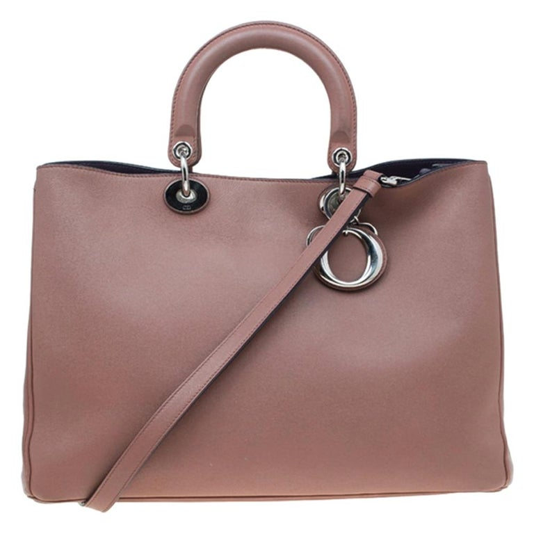 Dior Light Brown Leather Large Diorissimo Shopper Tote For Sale