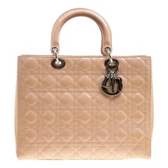 Dior Light Brown Patent Leather Large Lady Dior Tote