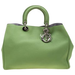 Dior Light Green Leather Large Diorissimo Tote