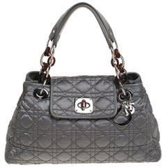 Dior Light Olive Green Cannage Satin Charming Lock Tote