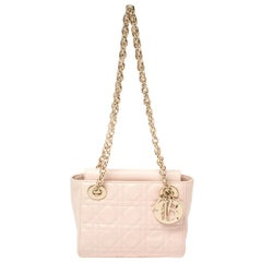 Dior Light Pink Cannage Leather Lady Dior Double Chain Bag