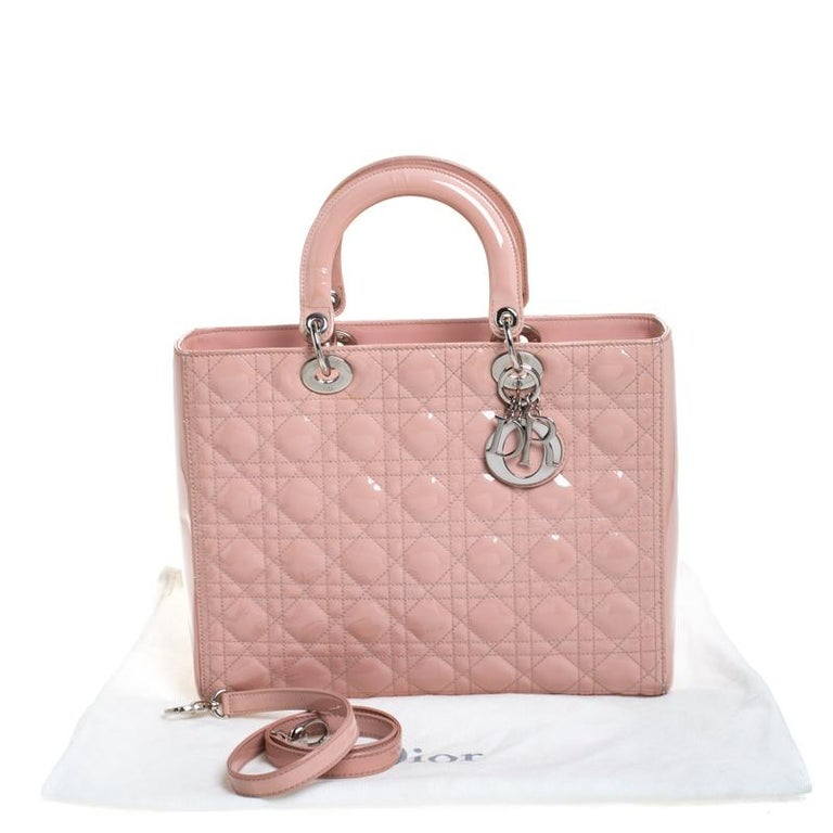 Dior Light Pink Cannage Quilted Patent Leather Large Lady Dior Tote For Sale 8
