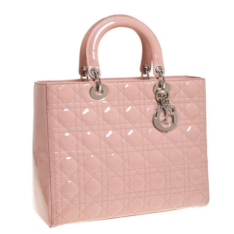 Women's Dior Light Pink Cannage Quilted Patent Leather Large Lady Dior Tote For Sale