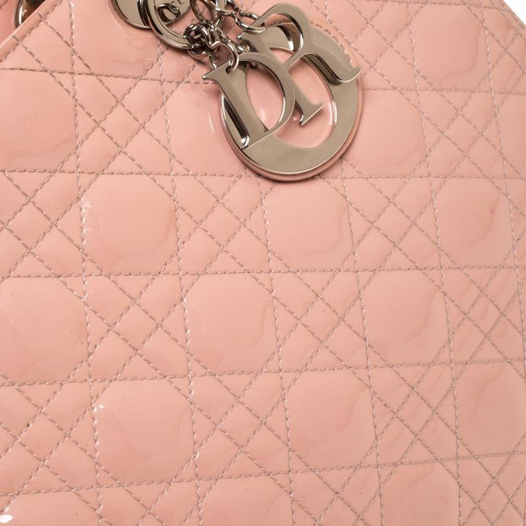 Dior Light Pink Cannage Quilted Patent Leather Large Lady Dior Tote For Sale 5