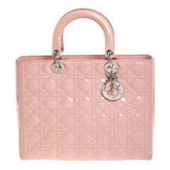 Dior Light Pink Cannage Quilted Patent Leather Large Lady Dior Tote