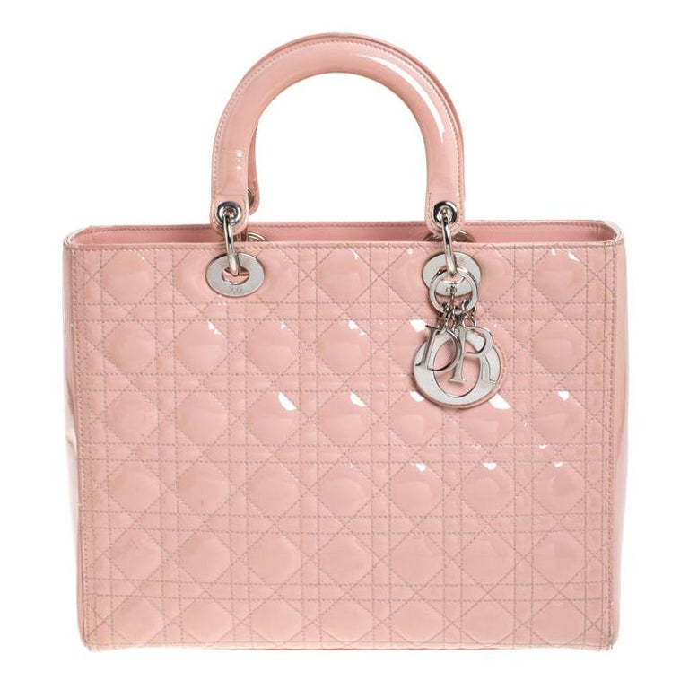 Dior Light Pink Cannage Quilted Patent Leather Large Lady Dior Tote For Sale