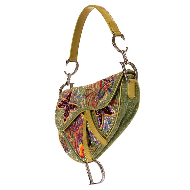 Dior Lime Green Embroidered 'Butterfly' 26cm Saddle Bag - SHW - Limited Edition  In Excellent Condition For Sale In London, GB
