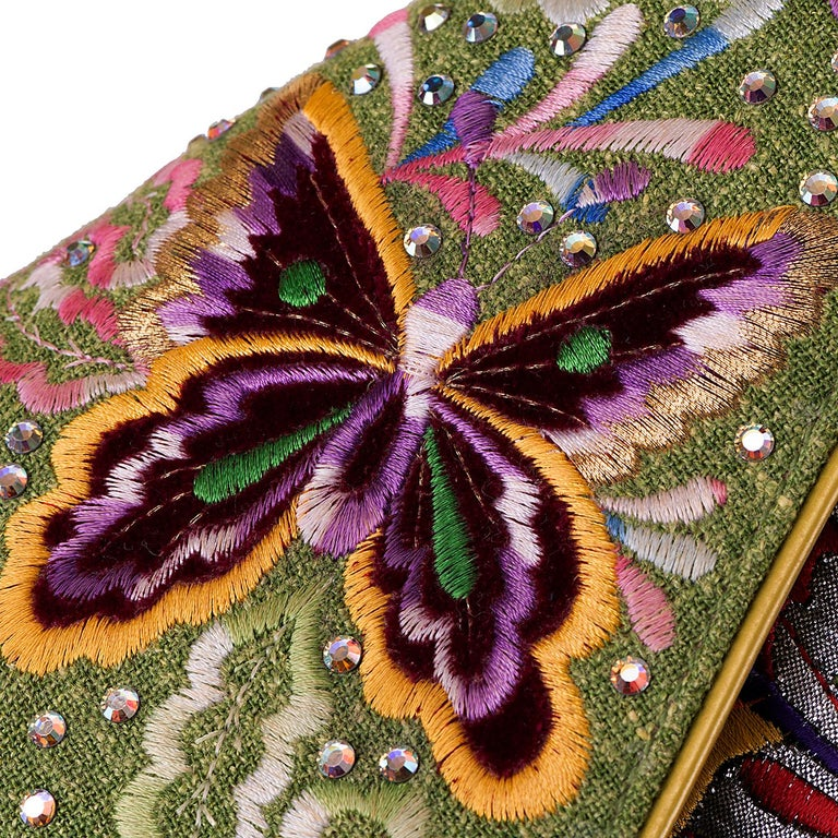 Women's Dior Lime Green Embroidered 'Butterfly' 26cm Saddle Bag - SHW - Limited Edition  For Sale