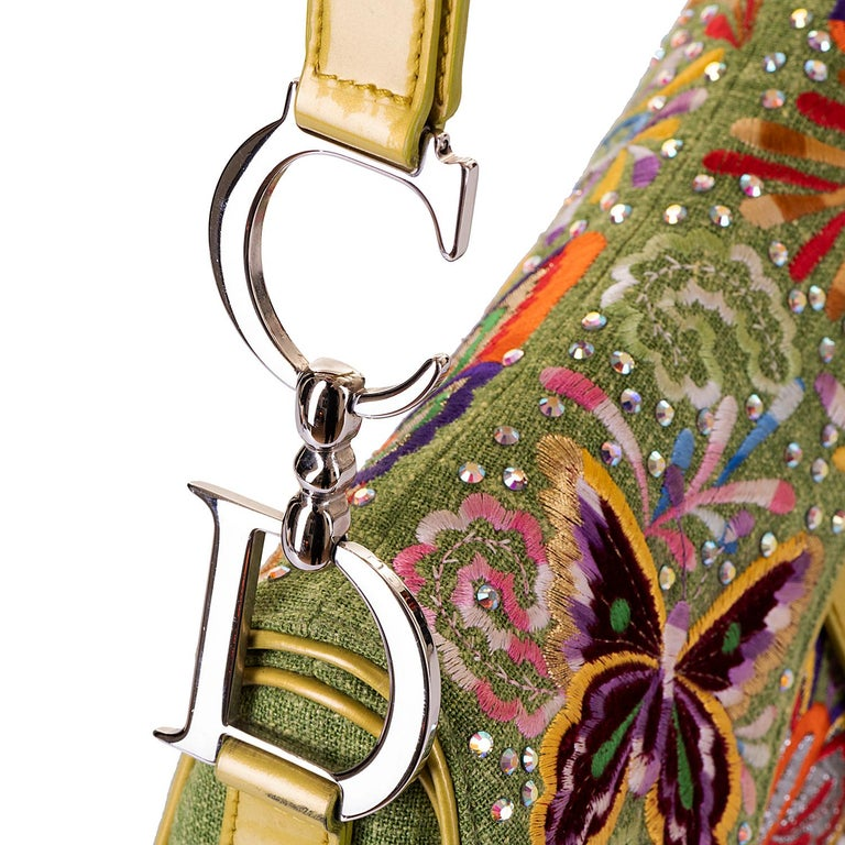 Dior Lime Green Embroidered 'Butterfly' 26cm Saddle Bag - SHW - Limited Edition  For Sale 1