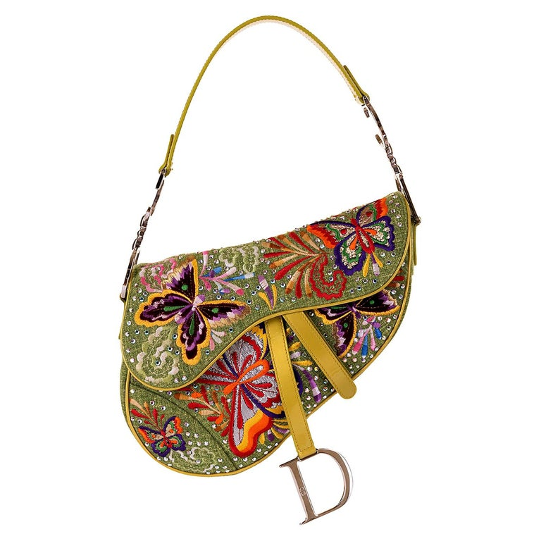 Dior Lime Green Embroidered 'Butterfly' 26cm Saddle Bag - SHW - Limited Edition  For Sale