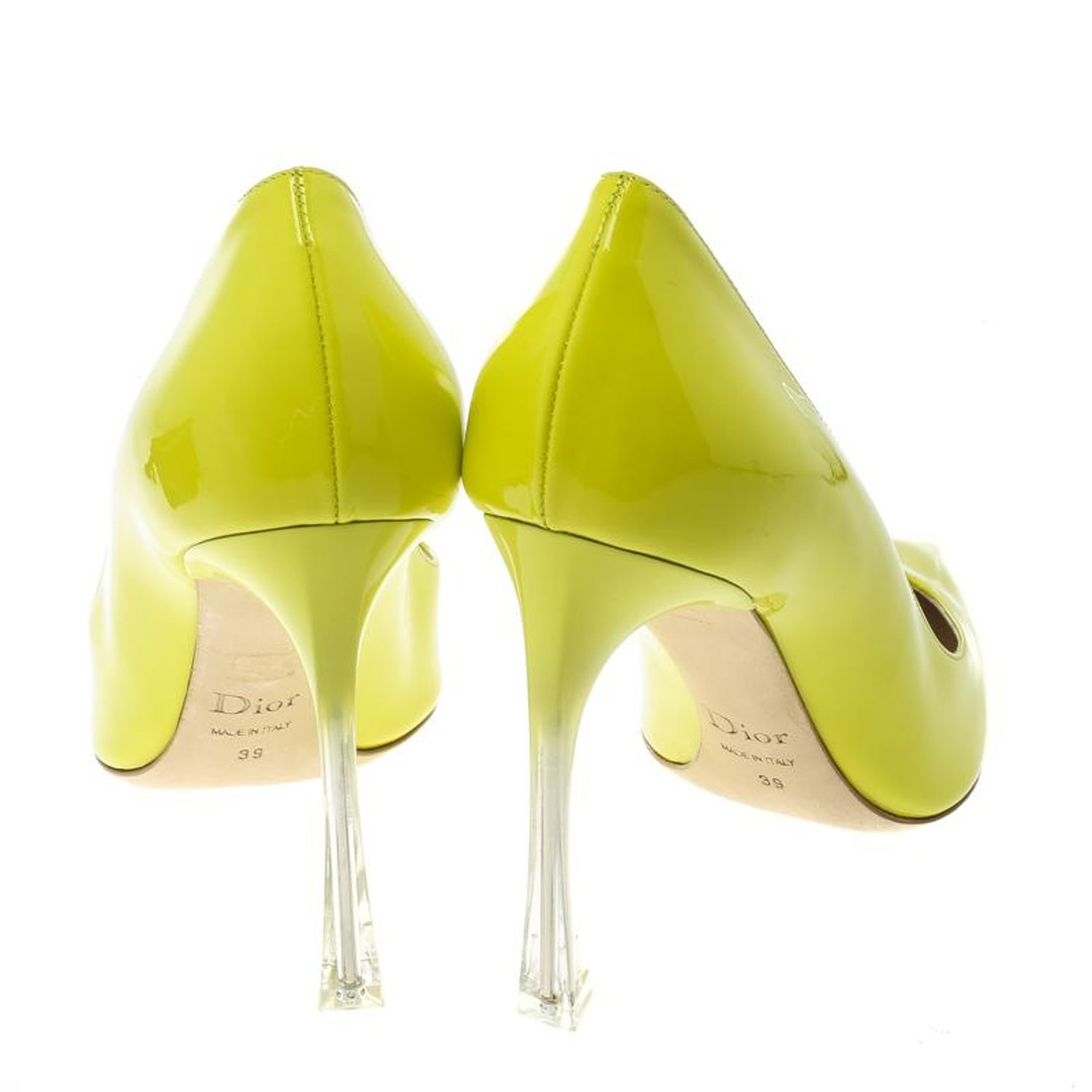 6b957e2ff Dior Lime Green Leather Songe Pointed Toe Pumps Size 39 For Sale at 1stdibs