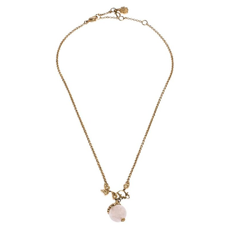 Contemporary Dior Logo Faux Pearl Crystal Embellished Gold Tone Ball Necklace For Sale