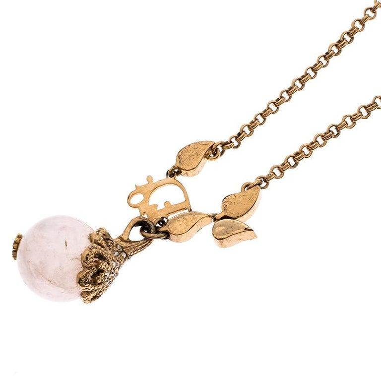 Dior Logo Faux Pearl Crystal Embellished Gold Tone Ball Necklace In Excellent Condition For Sale In Dubai, Al Qouz 2