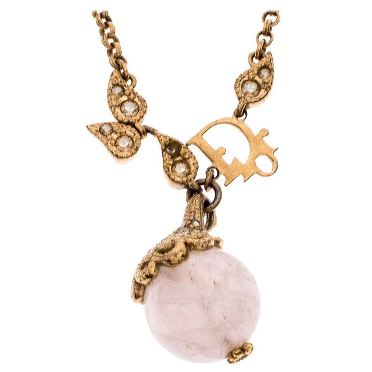 Dior Logo Faux Pearl Crystal Embellished Gold Tone Ball Necklace For Sale