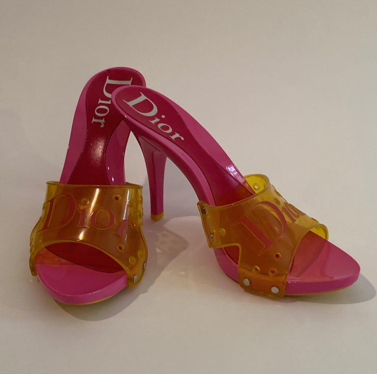 a845cecc2e2b9 Dior Logo Pink and Yellow Resin and PVC High Heel Sandals Shoes