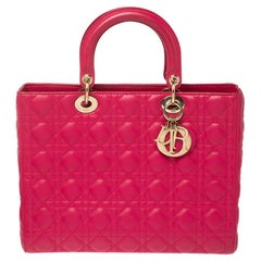 Dior Magenta Cannage Leather Large Lady Dior Tote