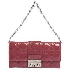 Dior Magenta Cannage Leather New Lock Wallet on Chain